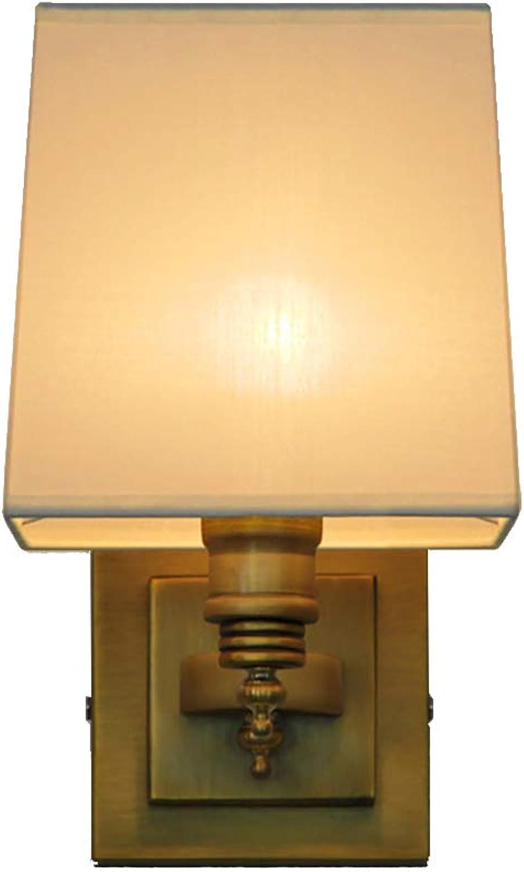 TOYM UK Europische Hotel Stil Kreative Amerikanische Kupfer Lampe Schlafzimmer Nacht Wohnzimmer Persnlichkeit Bronze Wandleuchte (Farbe   Single head(square))