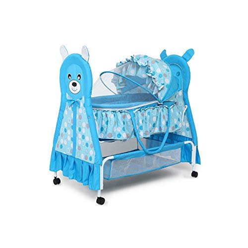 Kiddery Bella+Baloo | Baby Bassinet with Mosquito Protection Net | All Wheel Lock | 0-12 Months | Blue