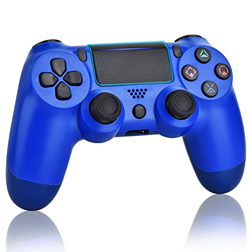 Juego Mando para PS4, controlador inalámbrico para Playstation 4 con Joystick de juego de doble vibración, azul (wave azul)