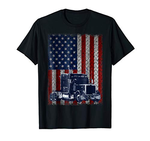 Truck Driver American Flag Trucker Gift T-Shirt
