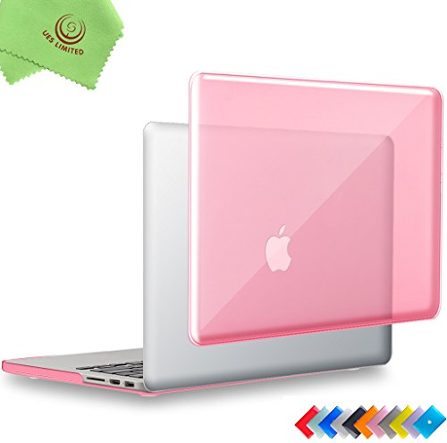 UESWILL Glossy Crystal Clear Hard Shell Case Cover for MacBook Pro (Retina, 15 inch, Mid 2012/2013/2014/Mid 2015), Model A1398, NO CD-ROM, NO Touch Bar, Pink