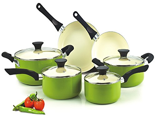 Cook N Home 10 Piece Nonstick Ceramic Coating Cookware Set, Green