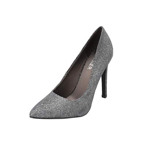 BULLBOXER N/A Damen Pumps Silber High-Heels Stilettos Absatz-Schuhe, Größe:EUR 38