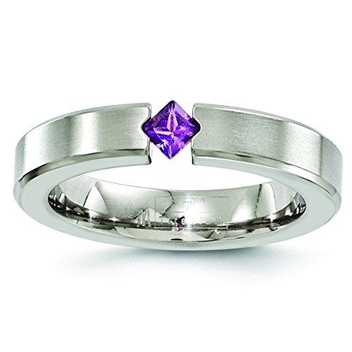 DIAMOND2DEAL INC Alianza de Boda de Amatista de Titanio Satinado