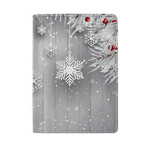 Reisepasshülle zum Aufhängen, Schneeflocken mit silbernem Weihnachtsbaum, tragbar, Leder, Reisegepäck, eine Tasche