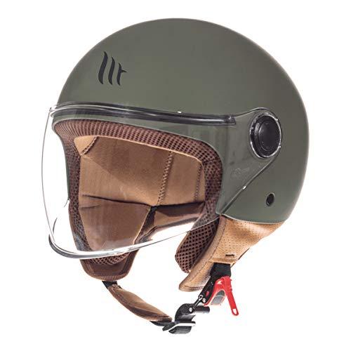 MT Street Jet-Helm · Motorrad-Helm Roller-Helm Scooter-Helm Bobber Mofa-Helm Chopper Retro Cruiser Vintage Pilot Biker ECE 22.05 (Matt Grün, L)