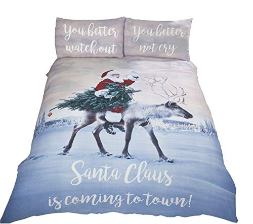 Christmas Santa Reindeer Tree Snow Red Green Cotton Blend Double Duvet Cover