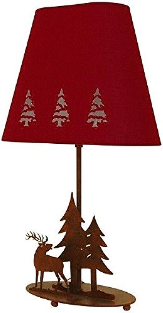 Ryckaert,lampada da tavolo, in metallo, decorata, con cervi di abete rosso 44672P79SC_AJ1047RP