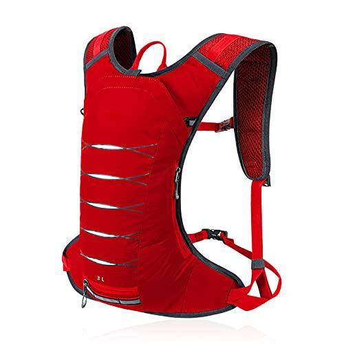 XHLLX Mochila de hidratación Running Backpack Transpirable y liviano Diseño de múltiples Bolsillos 3L Bolsa de Capacidad 3L para Correr Ciclismo Escalada y Senderismo,Rojo