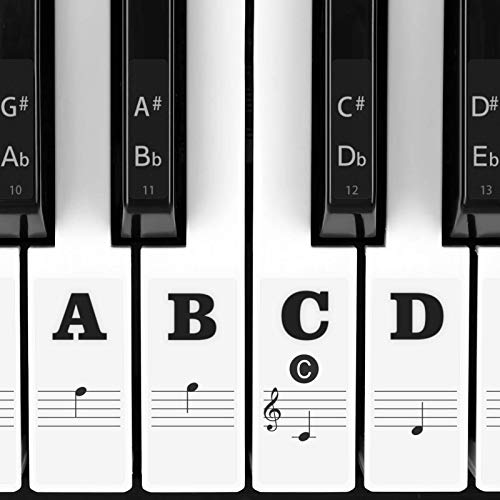 Piano Stickers for Keys, Eison Full Set Piano Keyboard Stickers for 88/61/54/49/37 Keys Removable with Numbers, Leaves No Residue, Color Black,Great Children's Gift