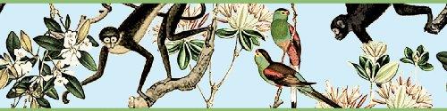 Gräflich Münster'sche Manufaktur 3er Set GMM - Selbstklebende Tapeten Borte, Bordüre Dschungel Tapetenborten mit Affen und Papageien, 3x5m Dschungel Eleganz für Wohnakzente