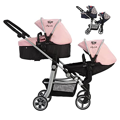 Play Like Mum Daisy Chain Pinnacle Double Dolls Pram – Adjustable handle up to 95cm. For 7,8,9,10,11,12,13 years+. In Classic Pink Fabric.