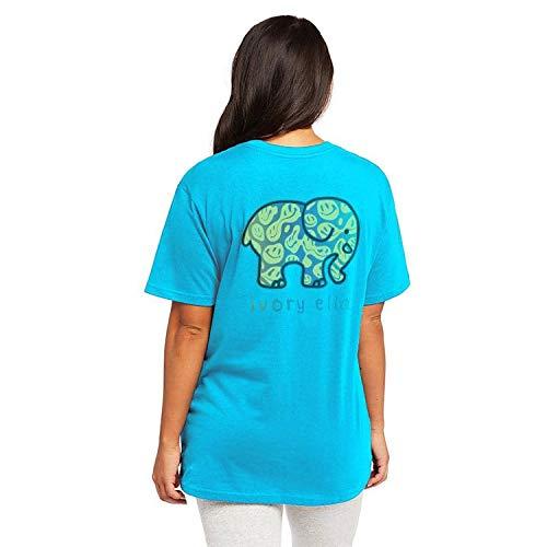 Ivory Ella Mayian Short Sleeve Oversized Relaxed T-Shirt Peacock Blue