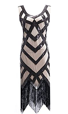 Womens 1920s Sequin Flapper Dress Gatsby Party