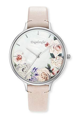 Engelsrufer ERWA-FLOWER2-LBE1-LS Uhr Damenuhr Lederarmband 3 bar Analog beige
