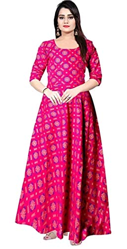 Jaipry Women Printed Gown Kurta Rayon Printed Maxi Long Gown Multicolor Dress.
