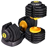 D-Stat Pair of 25KG Adjustable Smart Dumbbells from 5kg to 25kg Home Bodybuilding Fitness Training Weights Perfect for Weight Lifting in Yellow - IN STOCK