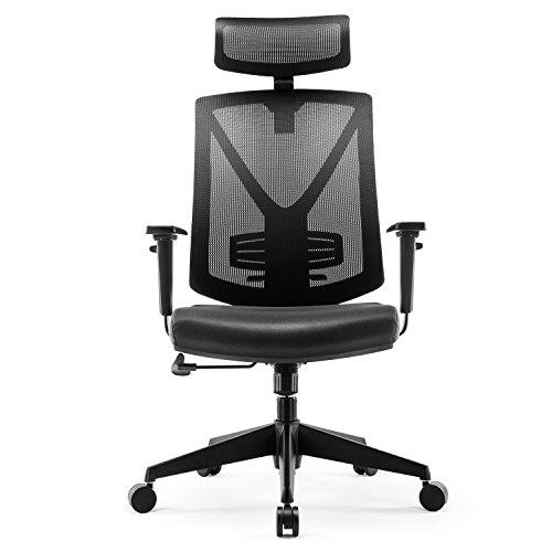 INTEY Bürostuhl ergonomisch, Schreibtischstuhl mit verstellbarer Kopfstütze und Armlehne, Bürosessel mit Wippfunktion bis 25°, Belastbar bis 150kg
