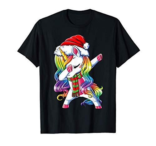 Dabbing Unicorn Santa Christmas Kids Girls Women Xmas Dab T-Shirt