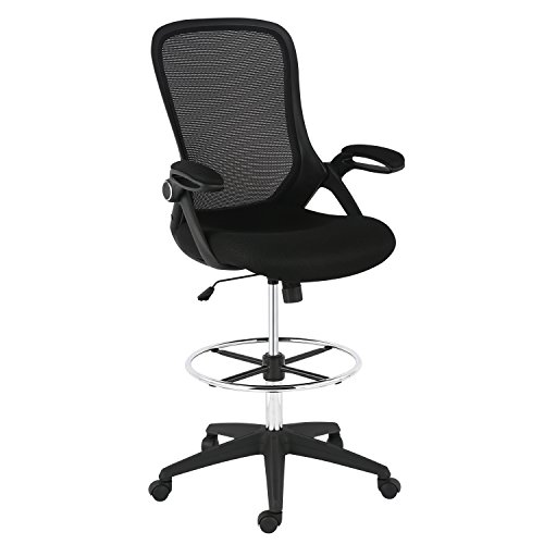 Poly and Bark Sadia Mesh Ergonomic Drafting Tall Office Chair Stool in Black