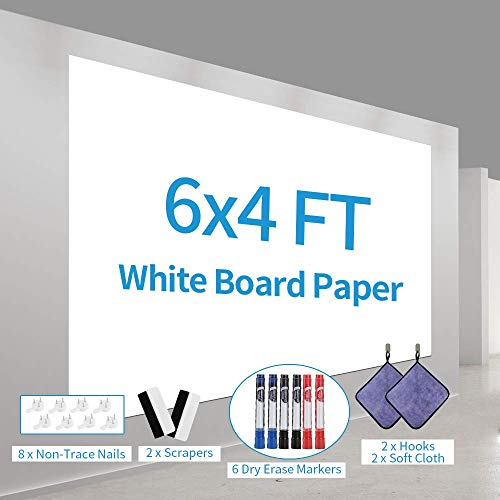 Large Dry Erase Paper Whiteboard Paper for Walls, Doors, Tables, Chalkboards, Whiteboards, Dry Erase Roll with Adhesive Backing, Stain-Proof, 6 ft x 4 ft