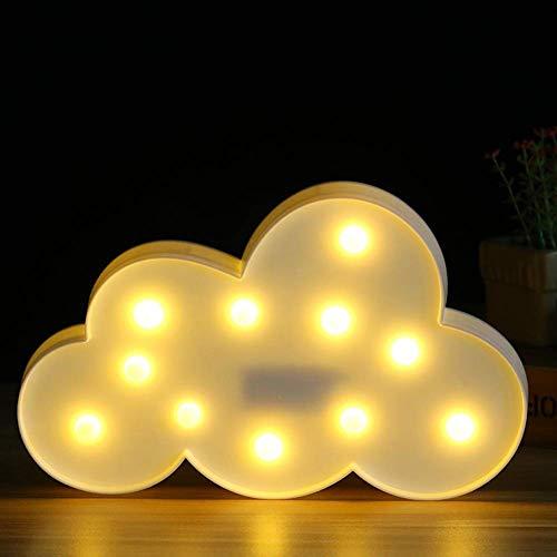 Adistar - Luz nocturna LED con forma de nube, luces LED de carpa para decoración de mesa, funciona con pilas, para niños, niñas, dormitorio, Navidad, boda, fiesta de cumpleaños (blanco)