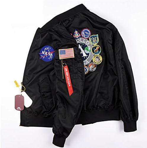 W/&TT Hommes de la NASA MA-1 Bomber Jacket Broderie correctifs imperm/éable /à leau Mince Baseball Uniforme Coupe-Vent Coupe-Vent XXS ~ 2XL,Navy,2XL