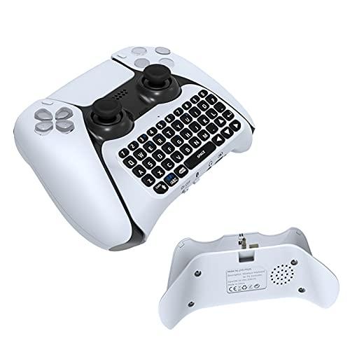 Gaming Tastatur für PS5,Bluetooth Tastatur Kabellos FüR Sony PS5 Konsole Eingebaute Lautsprecher 3,5 Mm Gamepad Tastatur Sprachchat UnterstüTzen