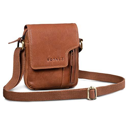 ROYALZ Vintage Herren Umhängetasche Klein Leder Männer Schultertasche Mini Seitentasche zum Umhängen, Farbe:Texas Braun
