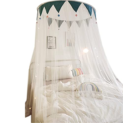 OKMNB Universal-Kuppel Moskitonetz, DREI Türen Kostenlose Installation Nordic Einfache Haar Ball Bett Mantel Moskitonetz Dark Green- 2.0m