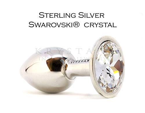 925 Sterling Silver butt plug with clear Swarovski crystal Luxury intimate jewelry