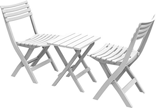 Duramax Plastic Sitting Set, Indoor & Outdoor Use-Patio, Camping, Picnic & Beach, Bistro Set & Garden Furniture, Portable Table & 2 Foldable Chairs, Sturdy, Durable & Weatherproof, White