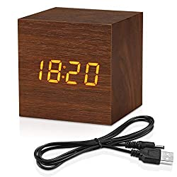 Topacom Wooden Digital Alarm Clock Cube Little Clock, LED Table Clock USB/Battery Powered for Heavy Sleepers, Kids, Bedrooms with Adjustable Brightness Voice Control, Brown