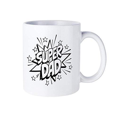 01305 Taza de café de Super Dad, estilo cómico de Super Dad Love Taza de cerámica de 11 oz Taza de bebida de té para el hogar y la oficina, cumpleaños, aniversario, Halloween, Navidad, idea para el dí