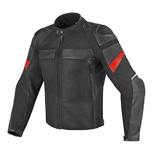 Chaqueta de Montar de Motocicleta de Malla de Verano de Cuero de los Hombres, Chaqueta de Carreras sin Forro, Equipo de Protectores de Chaqueta de Moto Black M