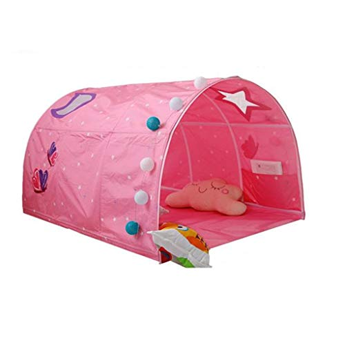 CSQ Pink and Blue Bed Tent, Indoor Round Dome Play Tent Sleeping Tent Play Tent with Toy Storage Bag - 100 * 140 * 80CM Children's play house (Color : Pink, Size : 100 * 140 * 80CM)