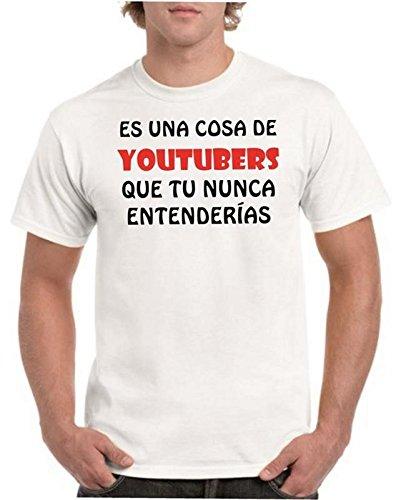 Camisetas divertidas Child Cosa de Youtubers Que tu Nunca entenderias - para Hombre Camisetas Talla Small Color Blanco