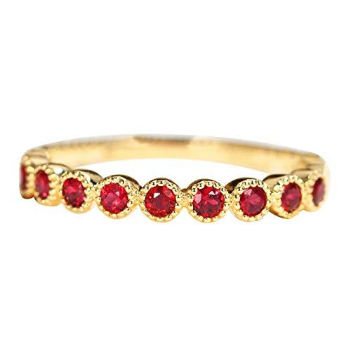 AueDsa Anillos Oro Anillo de Boda de Oro 18K Mujer Redondo Sangre de Paloma Rubí Rojo 0.35ct Anillo Talla 9,5