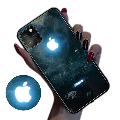 ESACLM Glowing Case for iPhone 11, iPhone 11 Pro Cases Led Logo Light iPhone Case Light Up Logo Case Illuminate Cover Tempered Glass Back Cover Protective Case,C,iPhone11