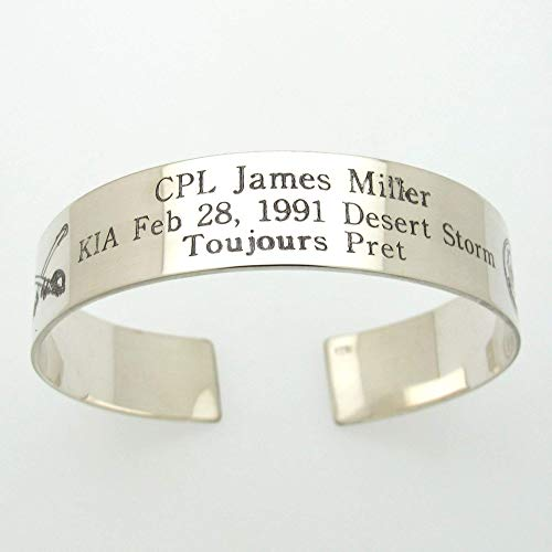 Extra Large Cuff Bracelet. Military Memorial Bracelet. Black Sterling Silver Bracelet, KIA Bracelet for men