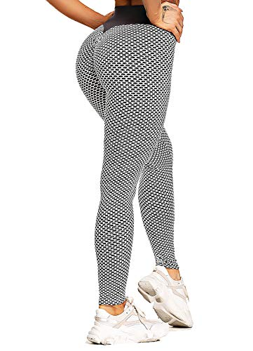 CROSS1946 Damen Netz Design Sporthose Sport Leggings Tights Grau X-Large