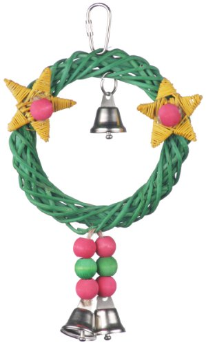 Super Bird Creations SB492 8 by 6-Inch X-mas Wreath Vine Swing Bird Toy, Medium