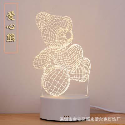 Lampe de Chevet Veilleuse USB colorée pour enfantsTélécommande Tactile 3D Petite Lampe de Table, Ourson câlin, télécommande Tactile 16 Couleurs