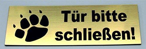 Torschild Gold Tor bitte schließen,12 x 4 cm Gravur Schild Hundeschild Hinweisschild