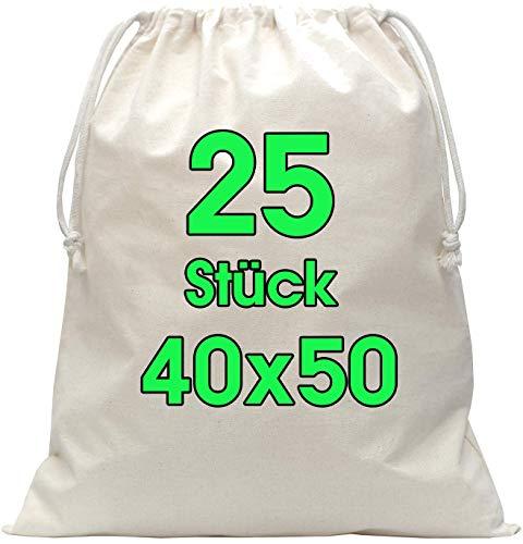 Zuziehbeutel Baumwollbeutel 25 Stück 40 x 50 cm - Rucksack Stofftasche Turnbeutel Bag, Reise Haushalt, Jutebeutel zertifiziert Große Heavy Duty Beutel mit Kordelzug zum bemalen Schuhbeutel in Natur