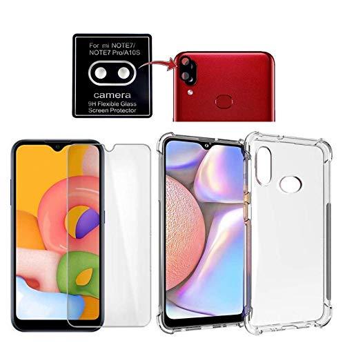 Kit Capa + Película Vidro Comum + Película Câmera Gel para Samsung Galaxy A10s