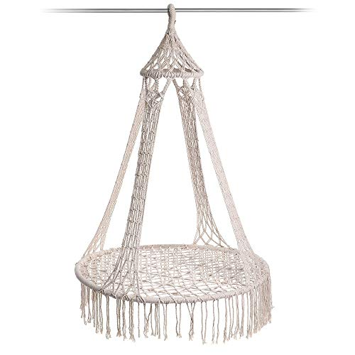 Hammock Chair Garden Lounge Hanging Chair Hammock Swing Seat Outdoor Camping Tassel Garden Hammock Chair (Color : White, Size : 30cm)