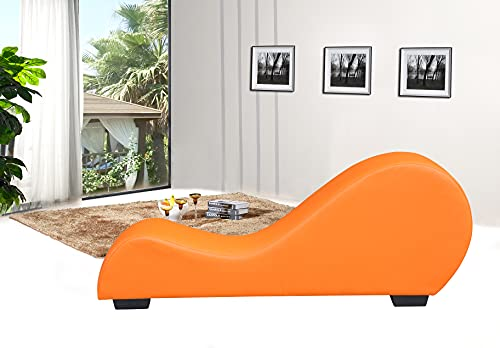 Container Furniture Direct Divine Collection Modern Upholstered Faux Leather Curved Yoga Chaise Lounge, Carrot