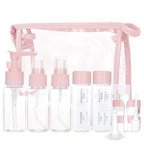 Beeria Lot de 11 flacons de Voyage vides pour liquides en Avion pour cosmétiques, shampoing, Gel Douche, crème - Rose