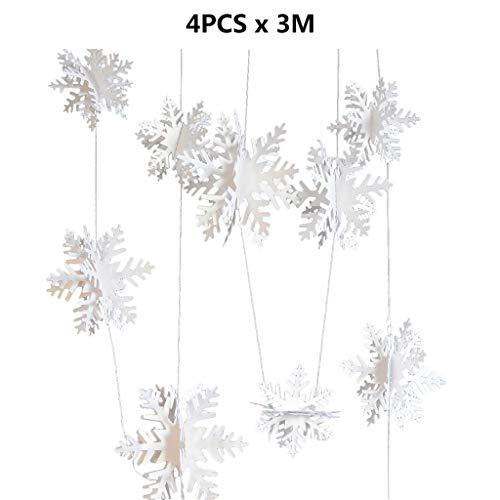 nengzhuzu 4 Pack 39.4ft Winter Party Christmas Snowflake Decoration 3D Hollow Snowflake
